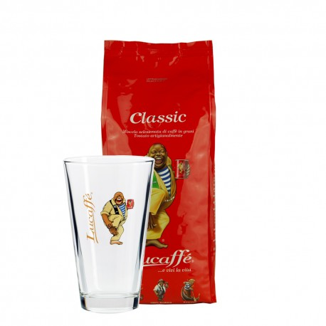 Lucaffe Classico 1000g inkl. Latte Glas